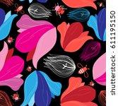 bright summer seamless pattern... | Shutterstock .eps vector #611195150