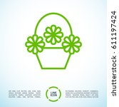 a basket with flowers line... | Shutterstock .eps vector #611197424