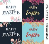 happy easter greeting card with ... | Shutterstock .eps vector #611197760