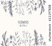 floral background with flower... | Shutterstock .eps vector #611197838