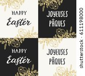 happy easter greeting card with ... | Shutterstock .eps vector #611198000