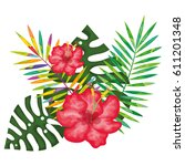 tropical flowers decorative card | Shutterstock .eps vector #611201348