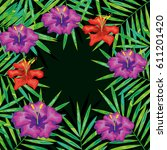 tropical flowers decorative card | Shutterstock .eps vector #611201420
