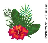 tropical flowers decorative card | Shutterstock .eps vector #611201450