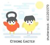 vector flat happy easter card... | Shutterstock .eps vector #611201570