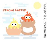 vector flat happy easter card... | Shutterstock .eps vector #611201594