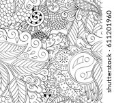 tracery seamless pattern.... | Shutterstock .eps vector #611201960