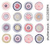 set of cute doodle mandalas | Shutterstock .eps vector #611203094