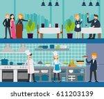 restaurant interior horizontal... | Shutterstock .eps vector #611203139