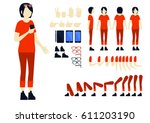 female character animation set... | Shutterstock .eps vector #611203190