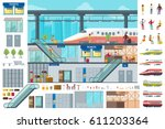 flat train station infographic... | Shutterstock .eps vector #611203364