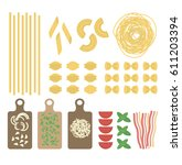 flat italian pasta set with... | Shutterstock .eps vector #611203394