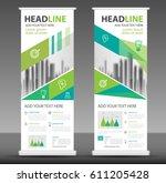 roll up business brochure flyer ... | Shutterstock .eps vector #611205428
