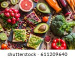 healthy vegan food. fresh... | Shutterstock . vector #611209640