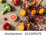 healthy vegan food. detox diet. ... | Shutterstock . vector #611209670