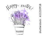 hand drawn line art pot crocus... | Shutterstock .eps vector #611210918