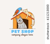 Stock vector logo for pet shop veterinary clinic animal shelter designed in a modern style vector lines 611213000