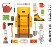 set of equipment for travel ... | Shutterstock .eps vector #611217824