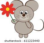 mouse holding flower | Shutterstock .eps vector #611223440