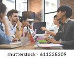 multiethnic group of happy... | Shutterstock . vector #611228309
