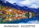 old town of oberried  brienz ... | Shutterstock . vector #611229743