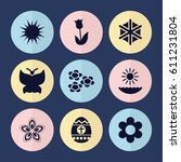 set of 9 spring filled icons... | Shutterstock .eps vector #611231804