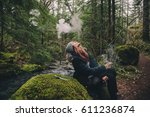 blonde woman smoking cannabis... | Shutterstock . vector #611236874