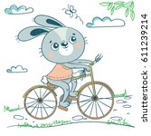 funny rabbit on bicycle. cute... | Shutterstock .eps vector #611239214