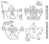 funny halloween characters | Shutterstock .eps vector #61124236