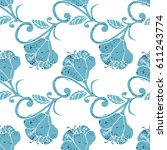 colorful hand drawn floral... | Shutterstock .eps vector #611243774