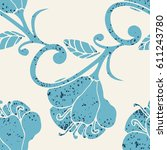 colorful hand drawn floral... | Shutterstock .eps vector #611243780