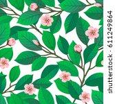 floral seamless pattern. cherry ... | Shutterstock .eps vector #611249864