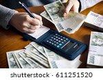 Woman Counting Money. Czech...