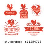 big set of vintage rooster... | Shutterstock .eps vector #611254718