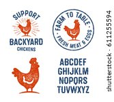 set of textured hen badges ... | Shutterstock .eps vector #611255594