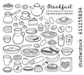 collection of hand drawn... | Shutterstock .eps vector #611255834