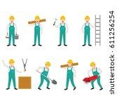 construction worker character... | Shutterstock .eps vector #611256254
