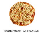 Top View Of Pizza Isolated And...