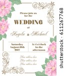 wedding invitation with flowers ... | Shutterstock .eps vector #611267768