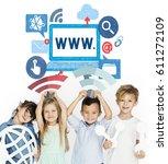 children holding network... | Shutterstock . vector #611272109