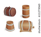 wooden barrel vintage old style ... | Shutterstock .eps vector #611273060