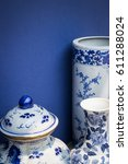 blue and white antique style... | Shutterstock . vector #611288024