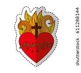 sacred jesus heart icon vector... | Shutterstock .eps vector #611288144