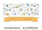 line web banner for stock... | Shutterstock . vector #611290226