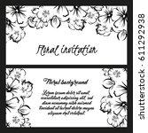vintage delicate invitation... | Shutterstock .eps vector #611292938