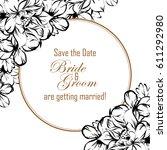 vintage delicate invitation... | Shutterstock .eps vector #611292980