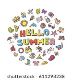 vector doodle summer icons set. ... | Shutterstock .eps vector #611293238