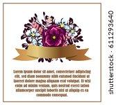 vintage delicate invitation... | Shutterstock . vector #611293640