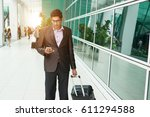 handsome business young male at ... | Shutterstock . vector #611294588