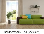white room with sofa and green... | Shutterstock . vector #611299574
